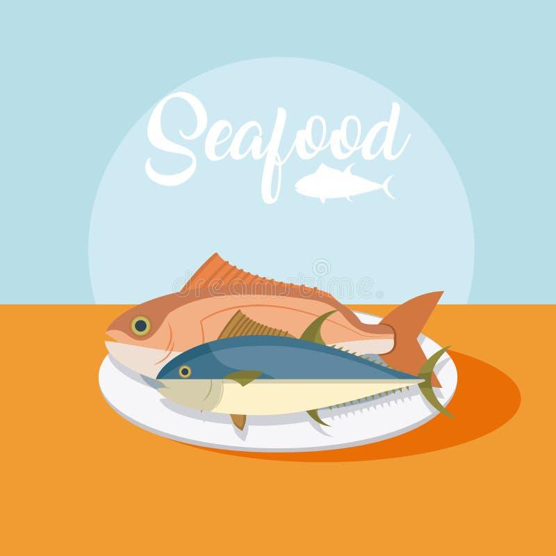 Fiskar ny skaldjur vektor illustrationer