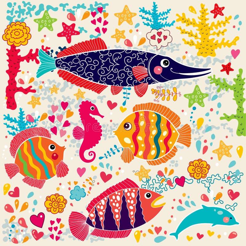 Fiskar och marin- livstid royaltyfri illustrationer