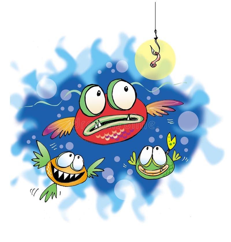 fiskar tre vektor illustrationer