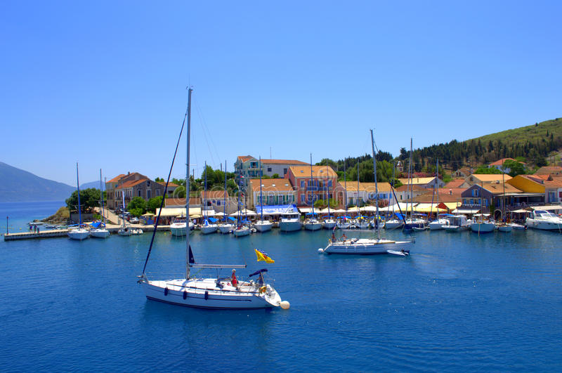 Fiskardo港口, Kefalonia海岛希腊 图库摄影