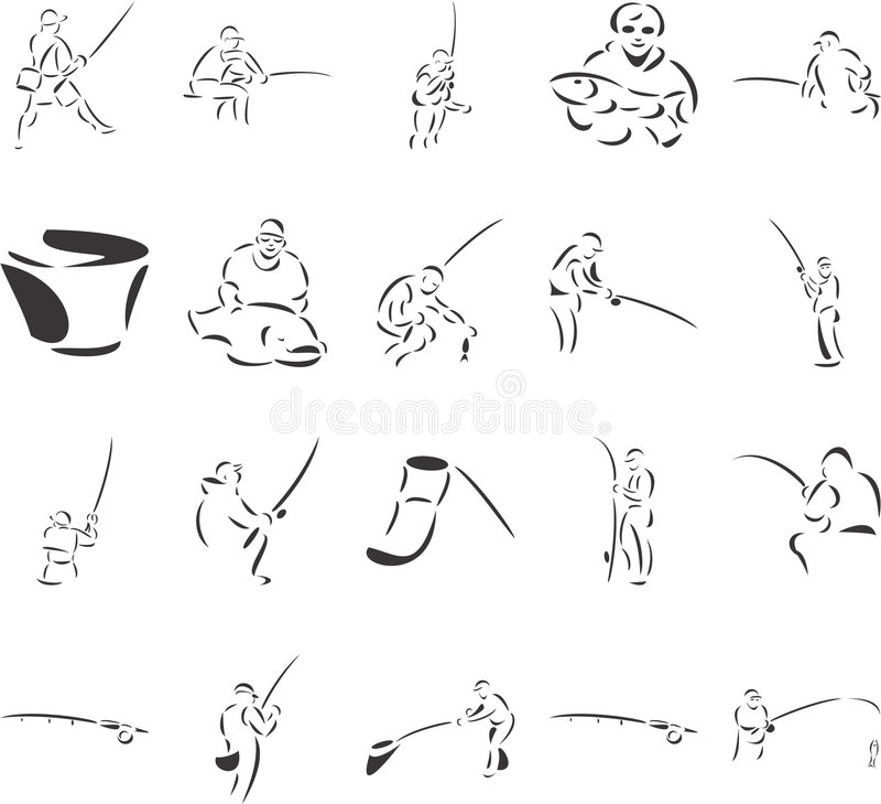 fiskare royaltyfri illustrationer