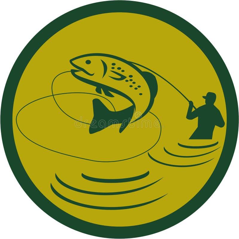 Fiskare Circle Retro för forellbanhoppningfluga stock illustrationer