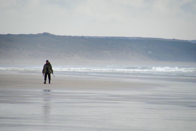 Fiskare Cornish Beach arkivbild