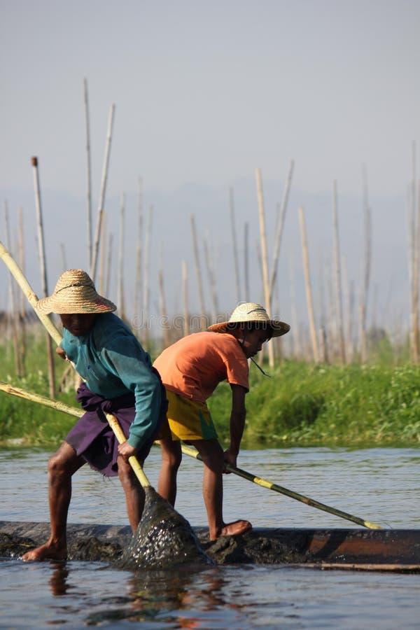 Fiskare/Equilibrist på Inle sjön arkivfoton