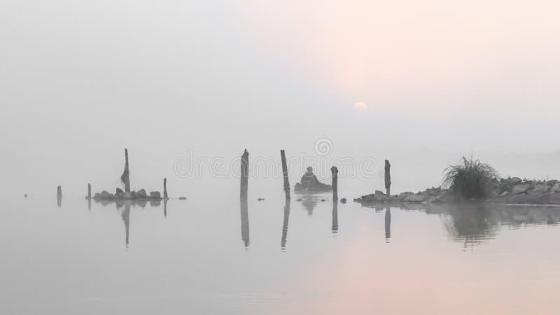 Fiskare i dimman royaltyfri foto
