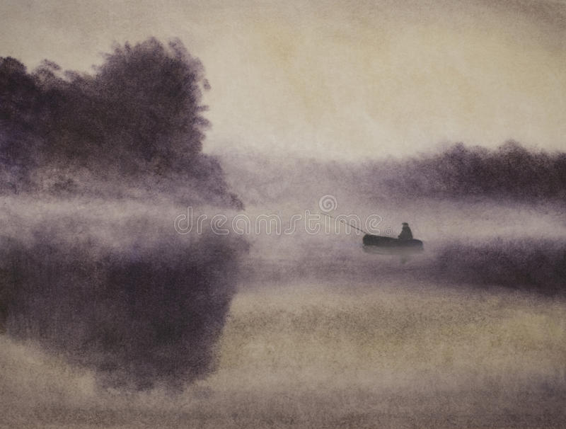 Fiskare i ett fartyg och en dimma vektor illustrationer