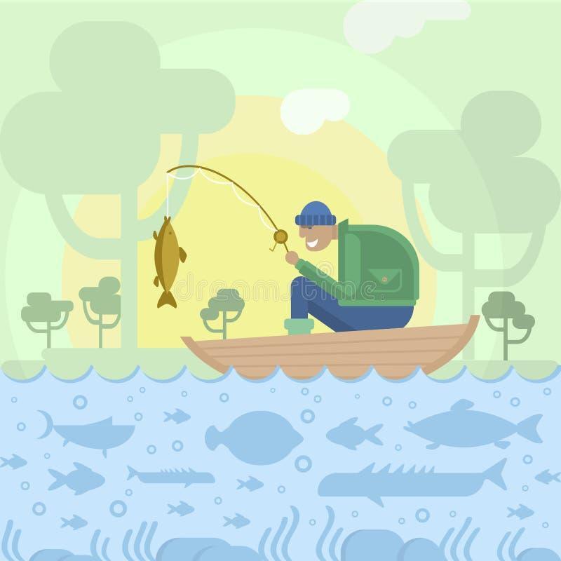 Fiskare i fartyg och fiskar royaltyfri illustrationer
