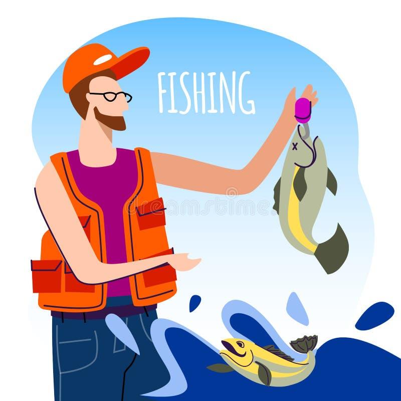 Fiskare i orange stor fisk för väst- och lockinnehav stock illustrationer