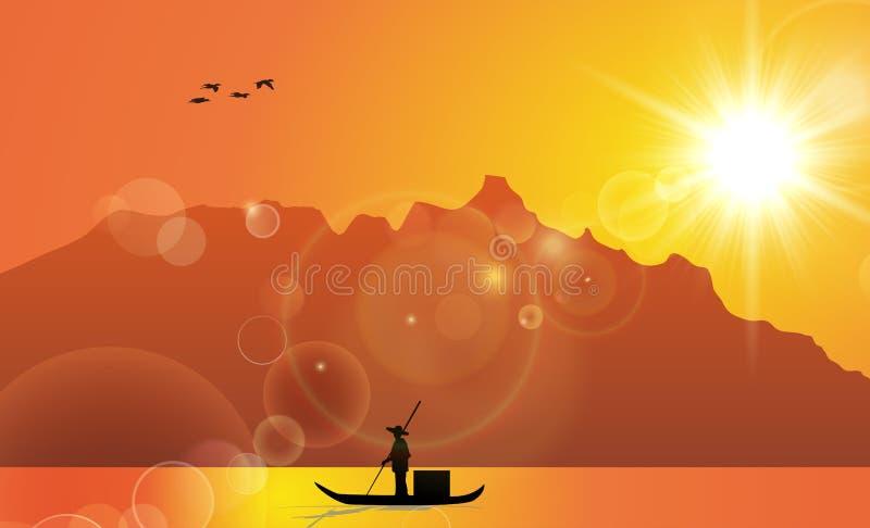 Fiskare Illustration Under Sunset för traditionell kines stock illustrationer