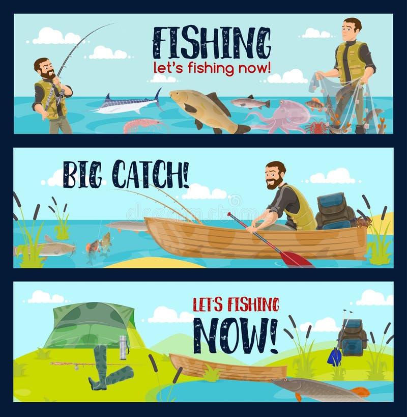Fiskare med stänger, redskap och fisklåset stock illustrationer