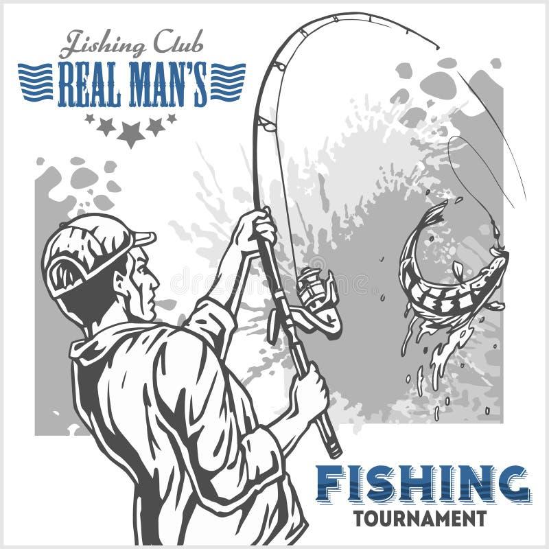 Fiskare och fisk - tappningillustration plus retro emblem royaltyfri illustrationer