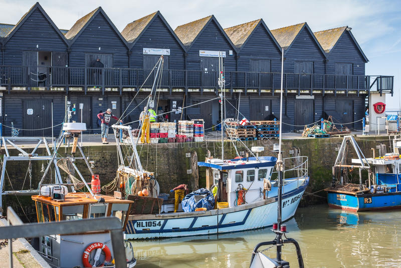 Fiskare och fiskebåtar i den Whitstable hamnen royaltyfri foto