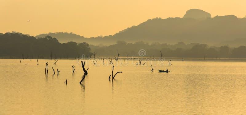 Fiskare på kandalamasjön, dambulla, Sri Lanka royaltyfri foto