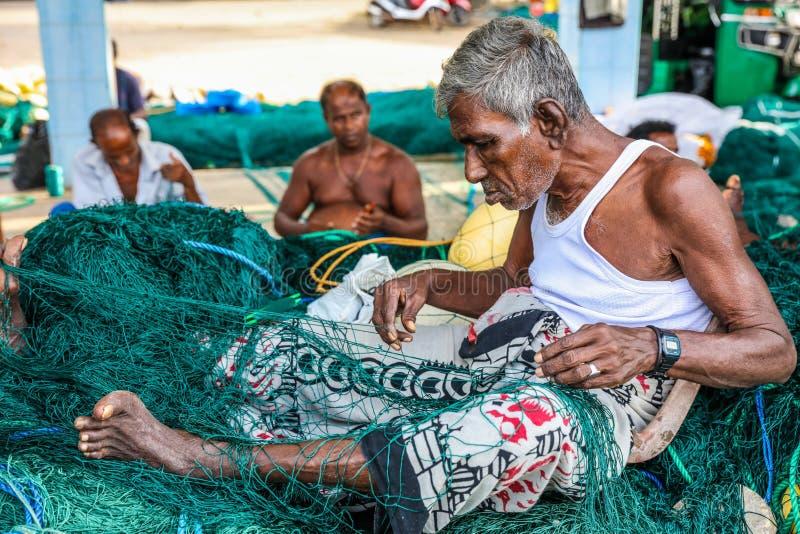 Fiskare som arbetar på fisknät i den Mirissa hamnen, Sri Lanka royaltyfri bild
