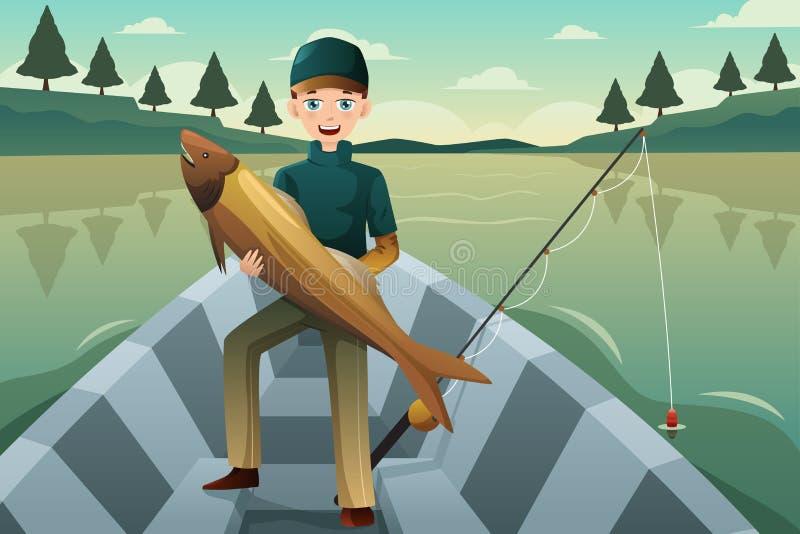 Fiskare som rymmer en fisk royaltyfri illustrationer