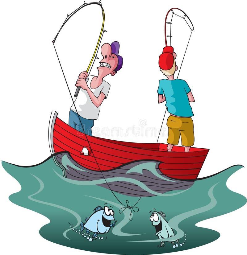 fiskare trasslade två till royaltyfri illustrationer