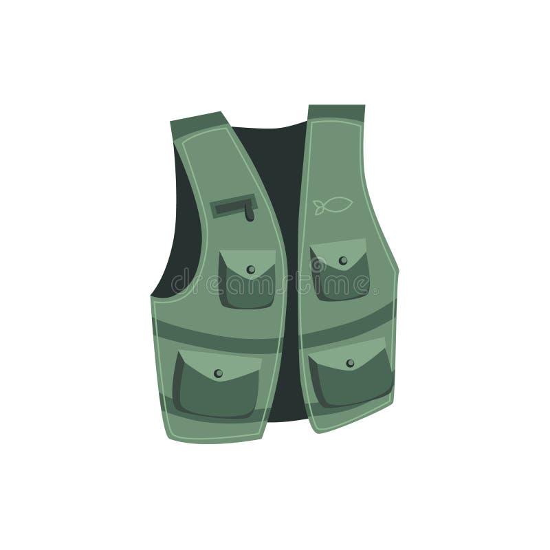 Fiskare Vest With Pockets vektor illustrationer