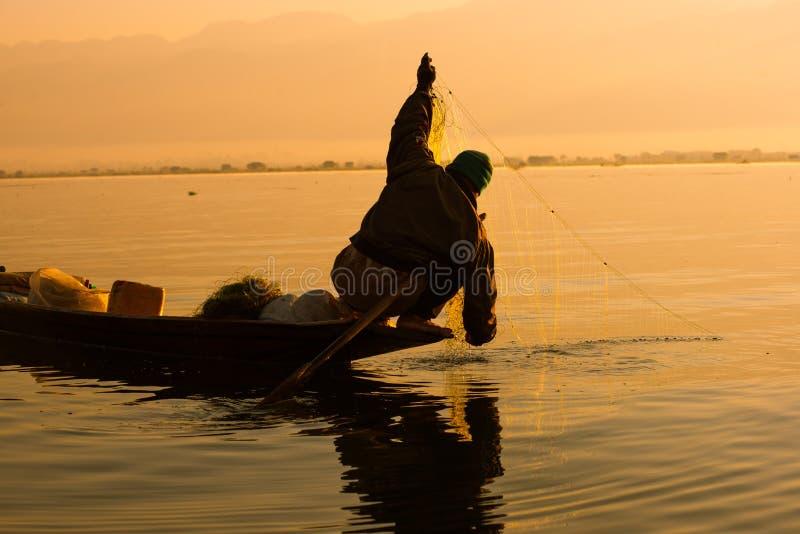 Fiskarelås fiskar för mat i soluppgång i Inle sjön arkivfoto