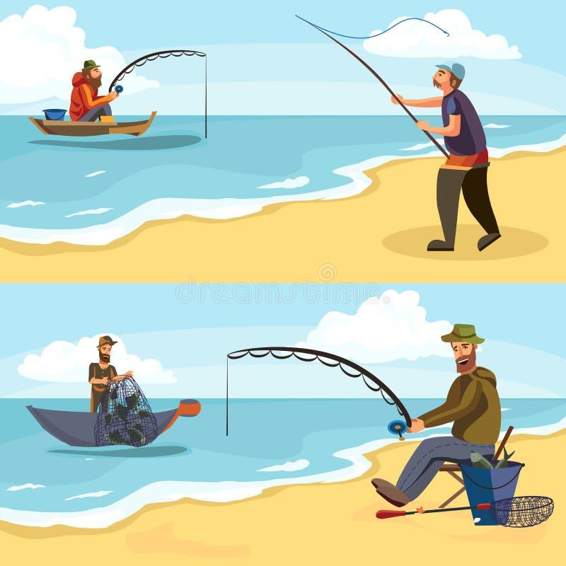 Fiskaren i gummistöveler kastar en metspö med en linje och som virkar in i vattnet för fluga-fiske, teckenman vektor illustrationer