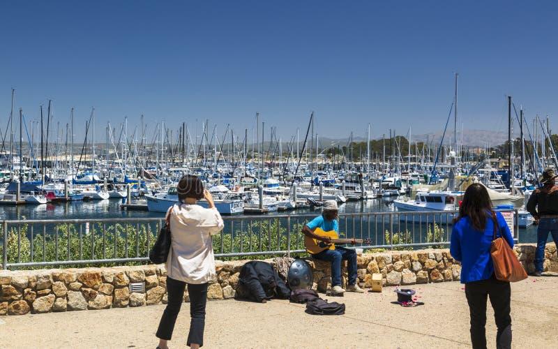 Fiskares hamnplats, Monterey fjärd, halvö, Monterey, Stilla havet, Kalifornien, Amerikas förenta stater, Nordamerika royaltyfria foton