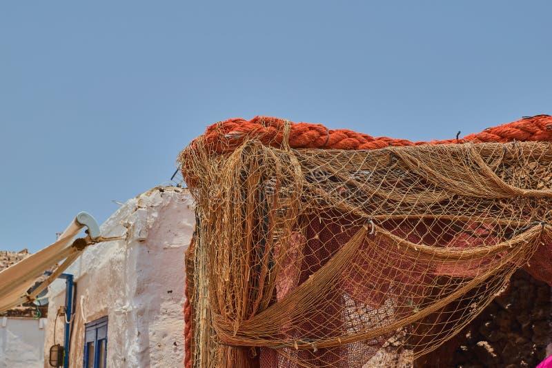 Fiskares ingrepp i Isla de Lobos, Fuerteventura, Spanien royaltyfri bild