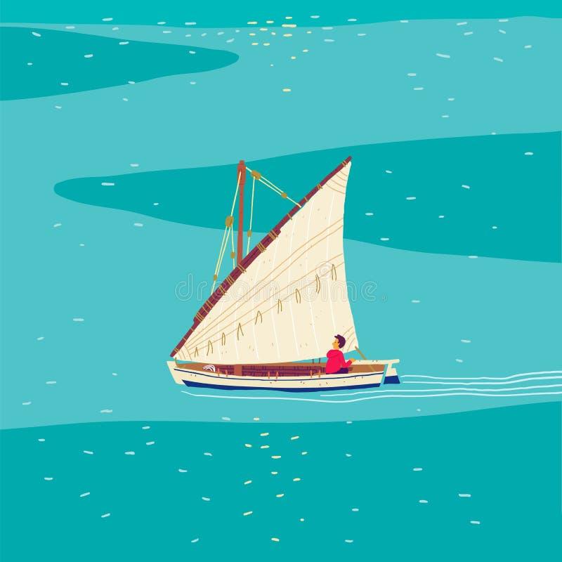 Fiskaresegelbåt stock illustrationer