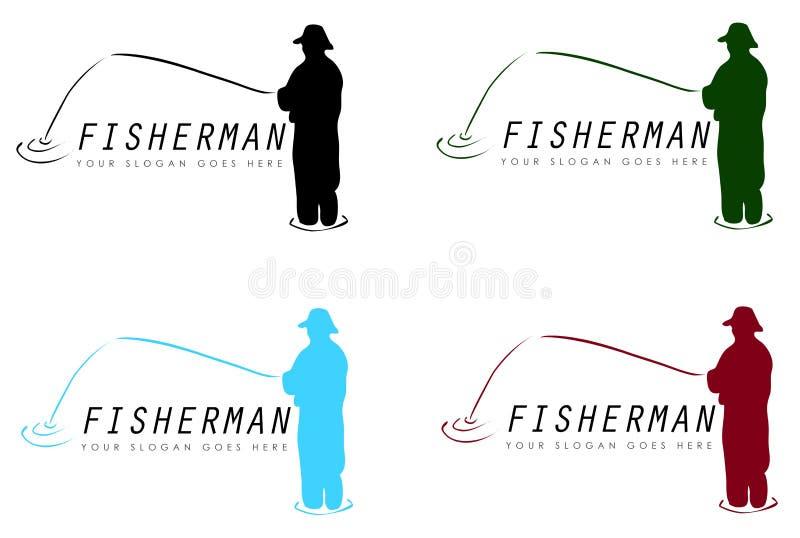 Fiskaretecken royaltyfri illustrationer