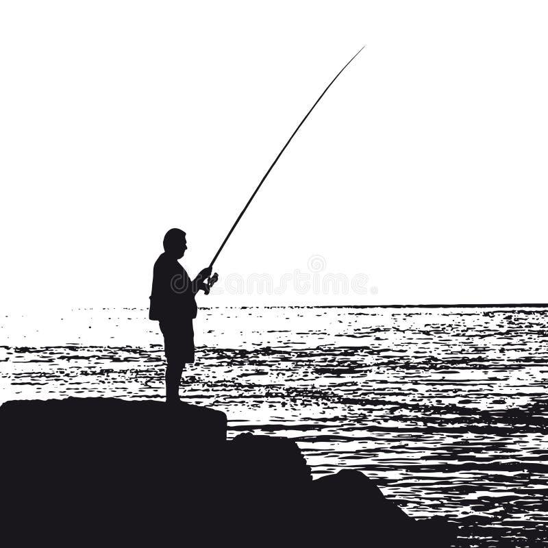 fiskarevektor stock illustrationer