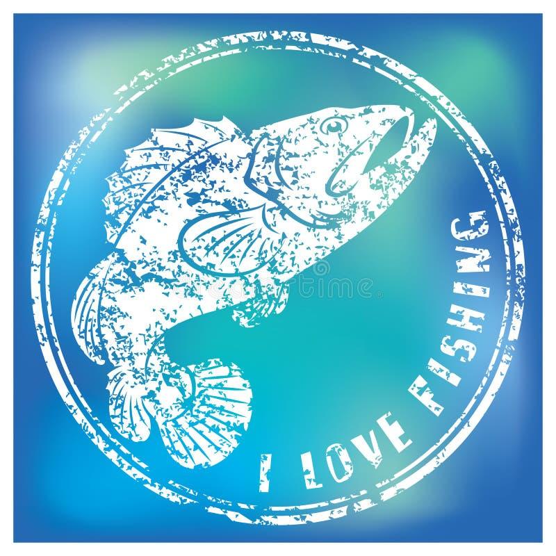 Fiskbas stock illustrationer