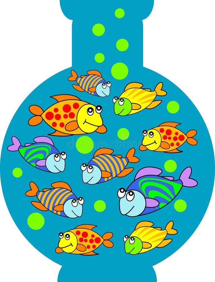 fiskbehållare stock illustrationer