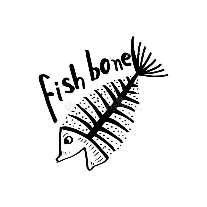 Fiskben, fiskskelett för skjortadesign, affisch, logo stock illustrationer