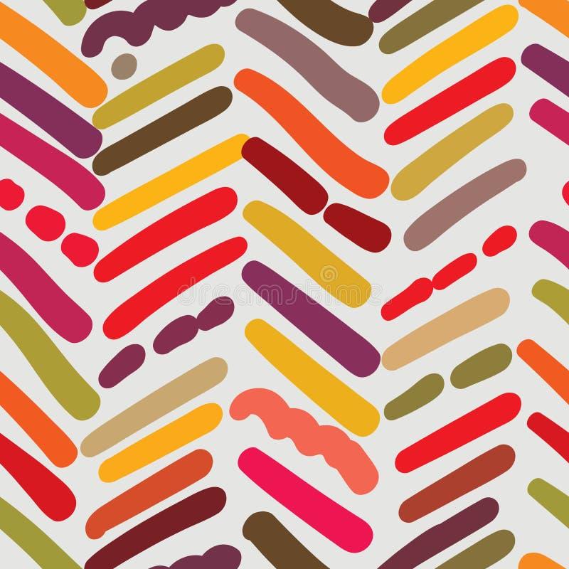 Fiskbensmönster texturerad sömlös modell med slumpmässiga borsteslaglängder royaltyfri illustrationer