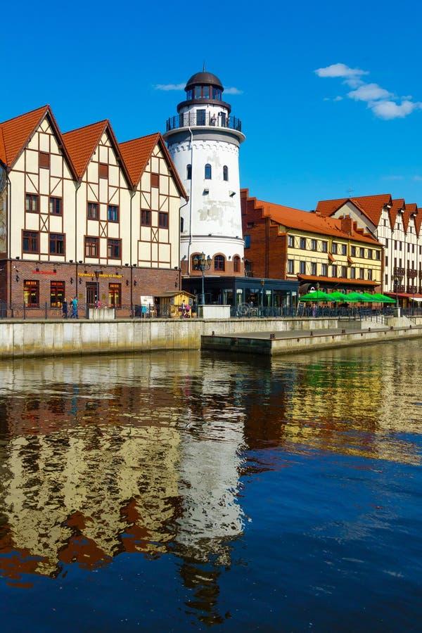 Fiskby i den Kaliningrad staden arkivbild