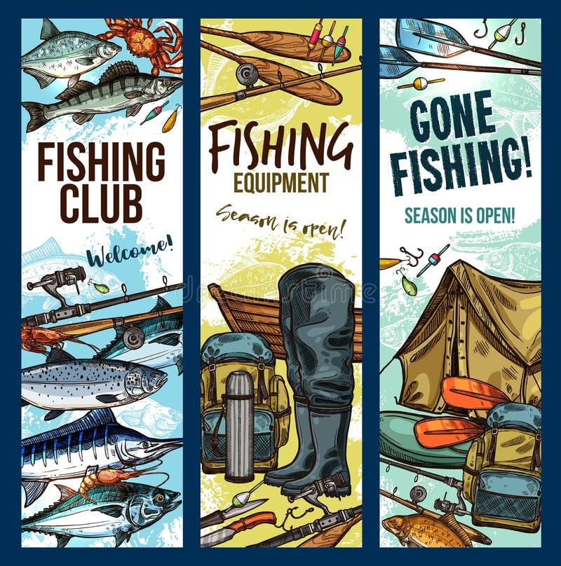 Fiske för klubban för vektorfiskaresporten skissar baner vektor illustrationer
