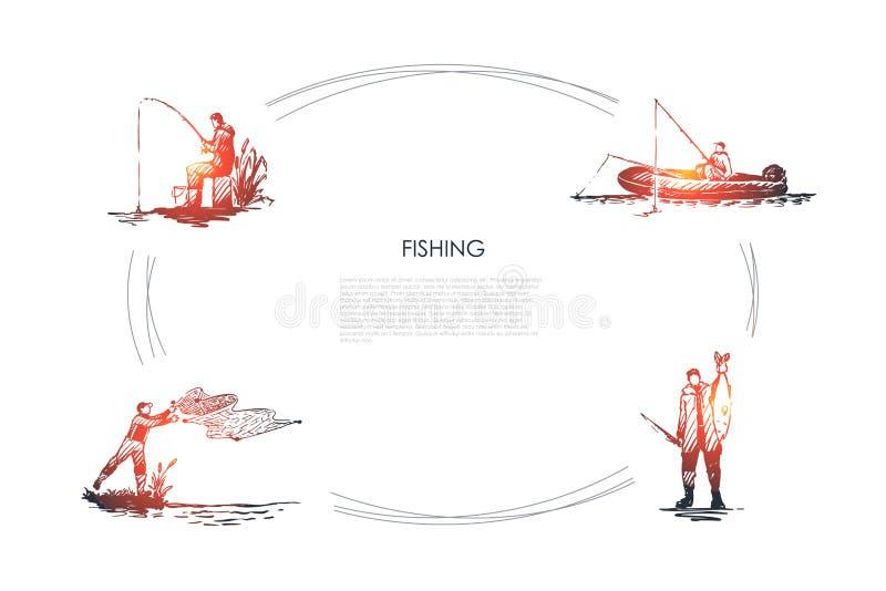 Fiske - fiskarerollbes?ttning f?rtj?nar, metsp?et och att f?nga fisken som sitter p? upps?ttning f?r fartygvektorbegrepp stock illustrationer