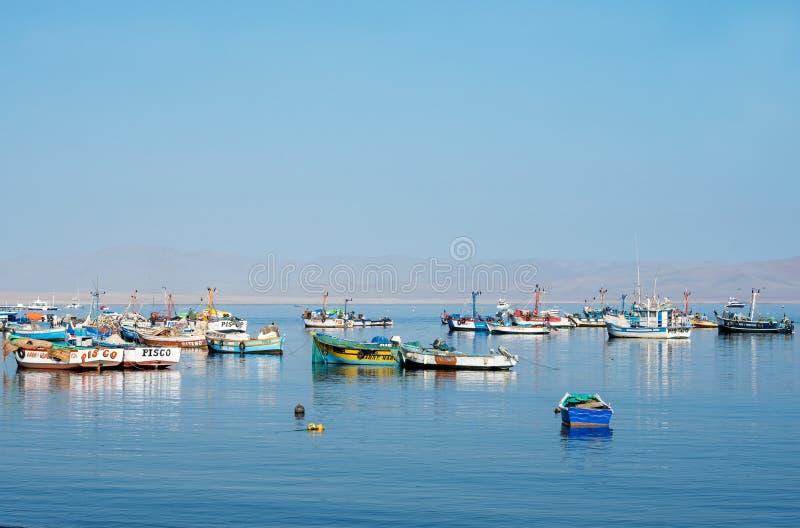 Fiskebåt i den Paracas nationalparken peru arkivfoton