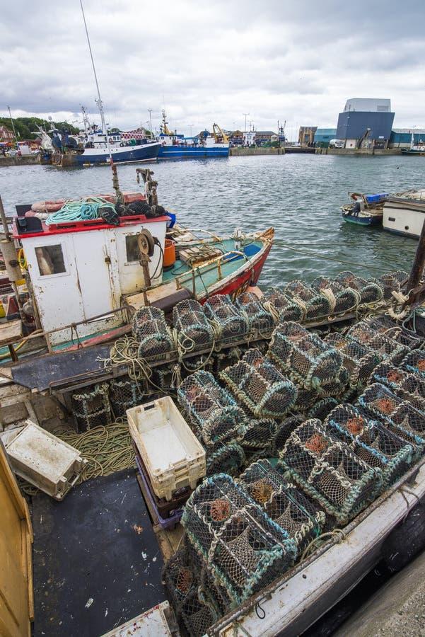 Fiskebåt med krabbakrukor royaltyfria bilder