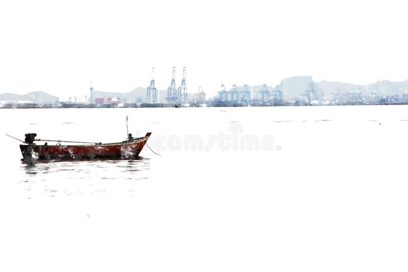 Fiskebåt och bakre oljeraffinaderi på vattenfärgmålning vektor illustrationer