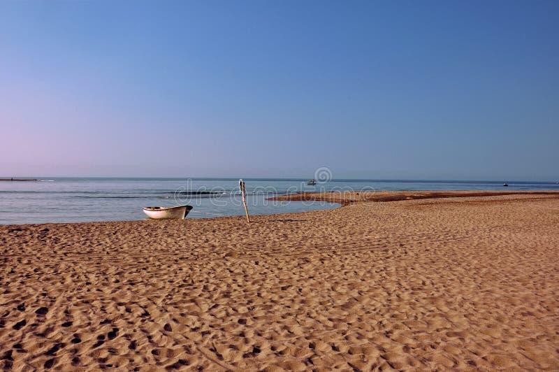 Fiskebåt på stranden royaltyfri foto