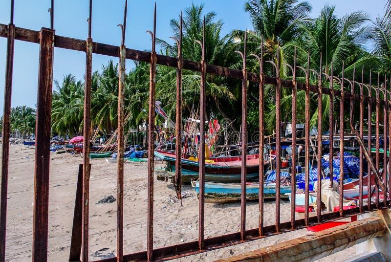 Fiskebåt på stranden med palmträdbakgrund arkivbilder