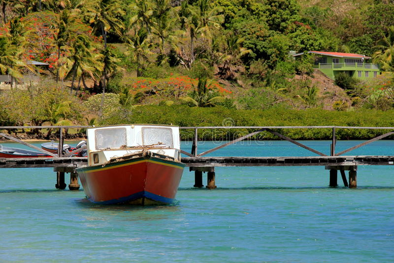 Fiskebåt, som har hyrts för dagen, förtöjt nära skeppsdockan för en timme av att snorkla, den RakiRaki ön, Fiji, 2015 arkivbild