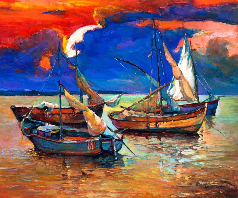 Fiskebåtar vektor illustrationer
