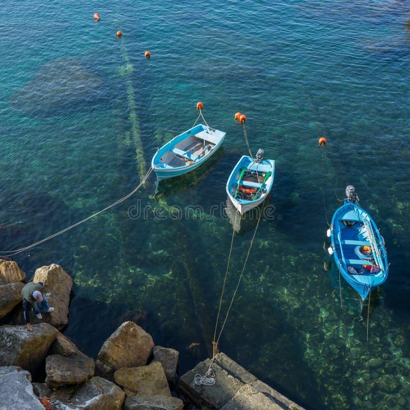 Fiskebåtar i Cinque Terre royaltyfri foto