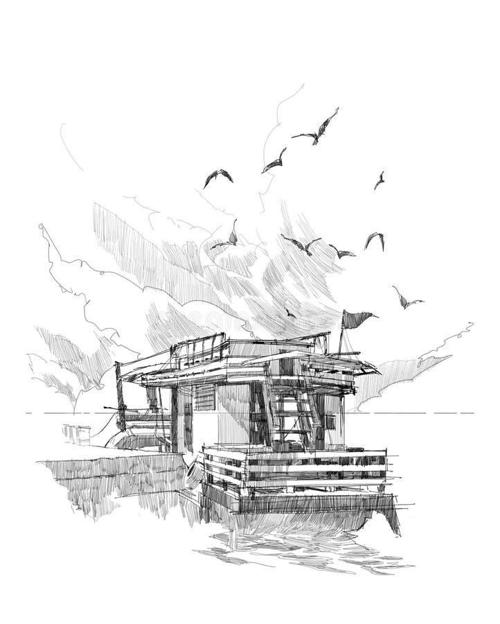 Fiskebåtar i en hamn vektor illustrationer