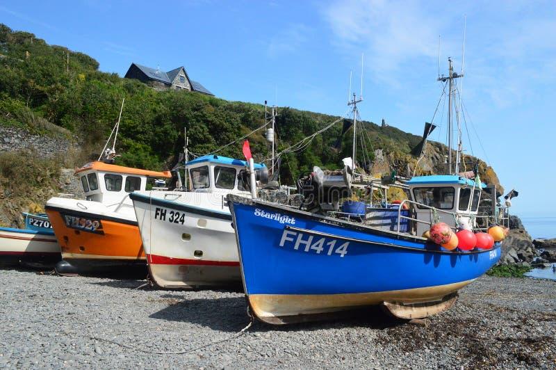 Fiskebåtar på den Cadgwith lilla viken Cornwall arkivfoton