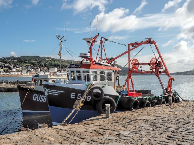Fiskebåtar på Lyme Regis Harbour arkivbild