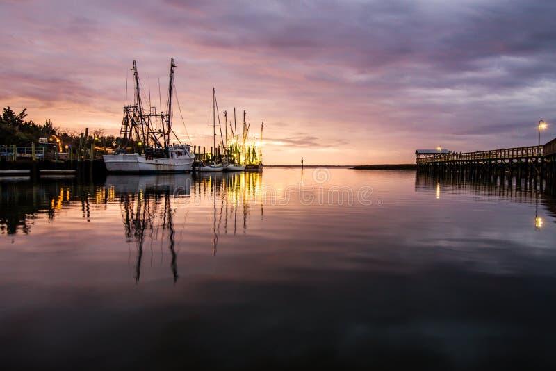 Fiskebåtar på Shem Creek royaltyfri fotografi