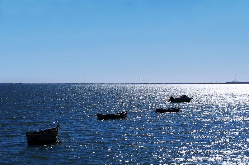 Fiskebåtar på stranden av Puerto som är verklig i Cadiz, Andalusia spain arkivbilder