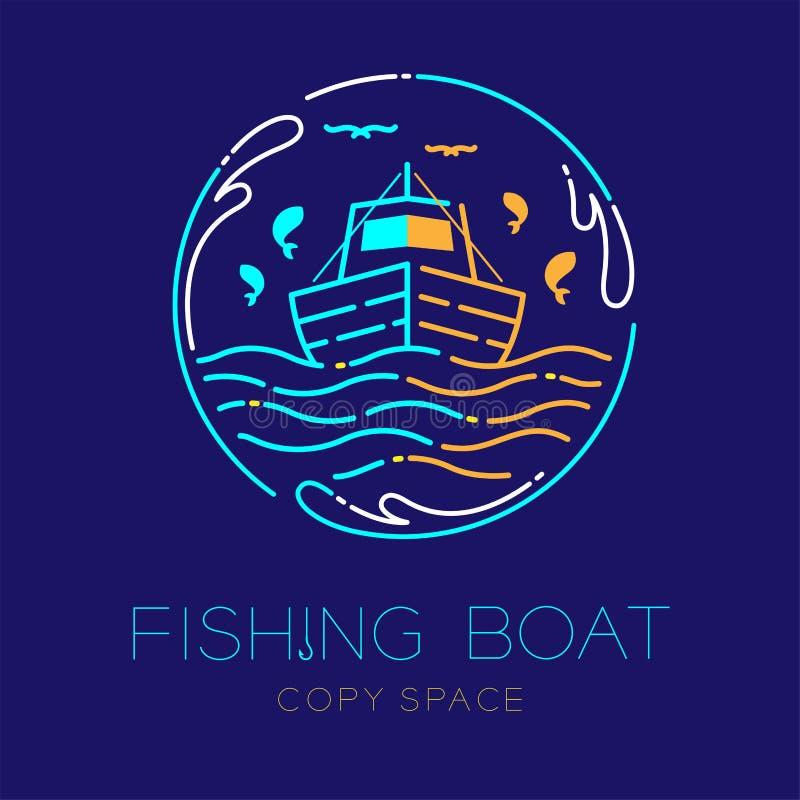 Fiskebåten, fisken, seagullen, vågen och linjen för strecket för uppsättningen för slaglängden för översikten för symbolen för lo royaltyfri illustrationer