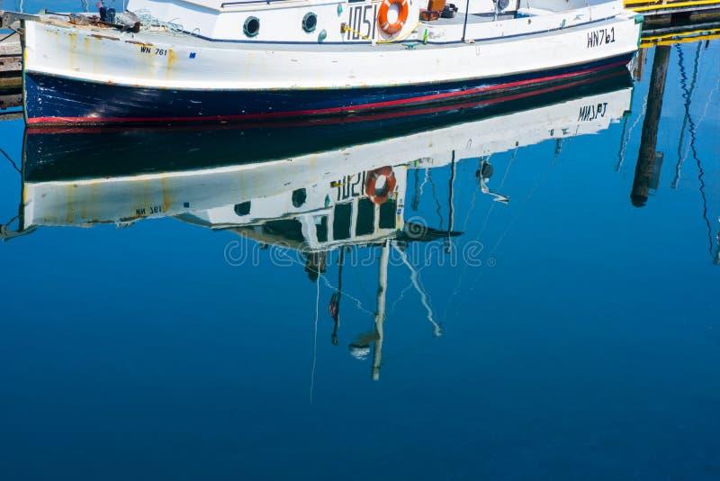 Fiskebåtreflexion på den offentliga marina royaltyfri fotografi